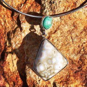 Fossil Coral Turquoise Sterling Silver Choker
